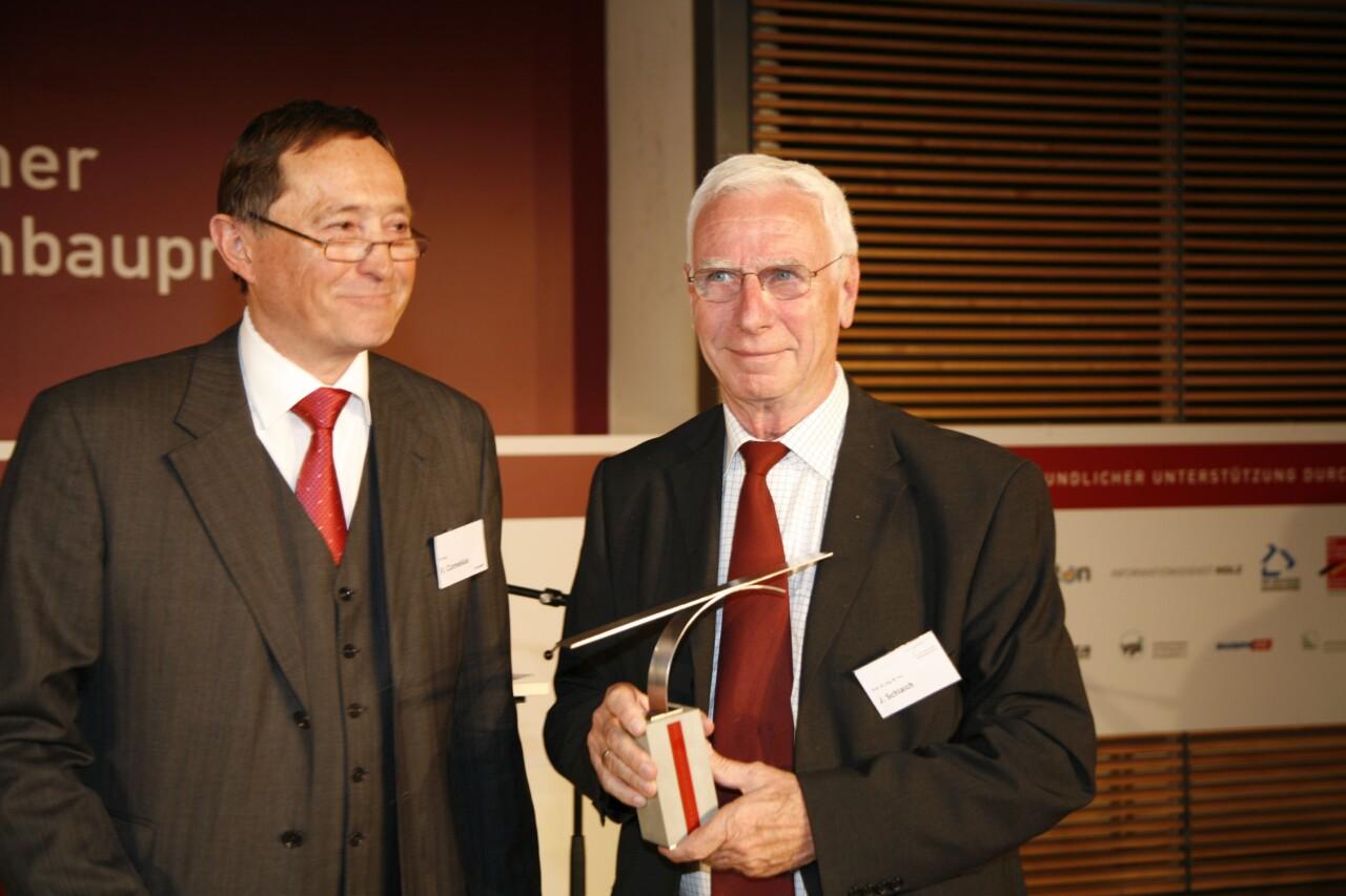 Brückenbaupreisverleihung 2008: Jörg Schlaich mit dem früheren VBI-Präsidenten Volker Cornelius.